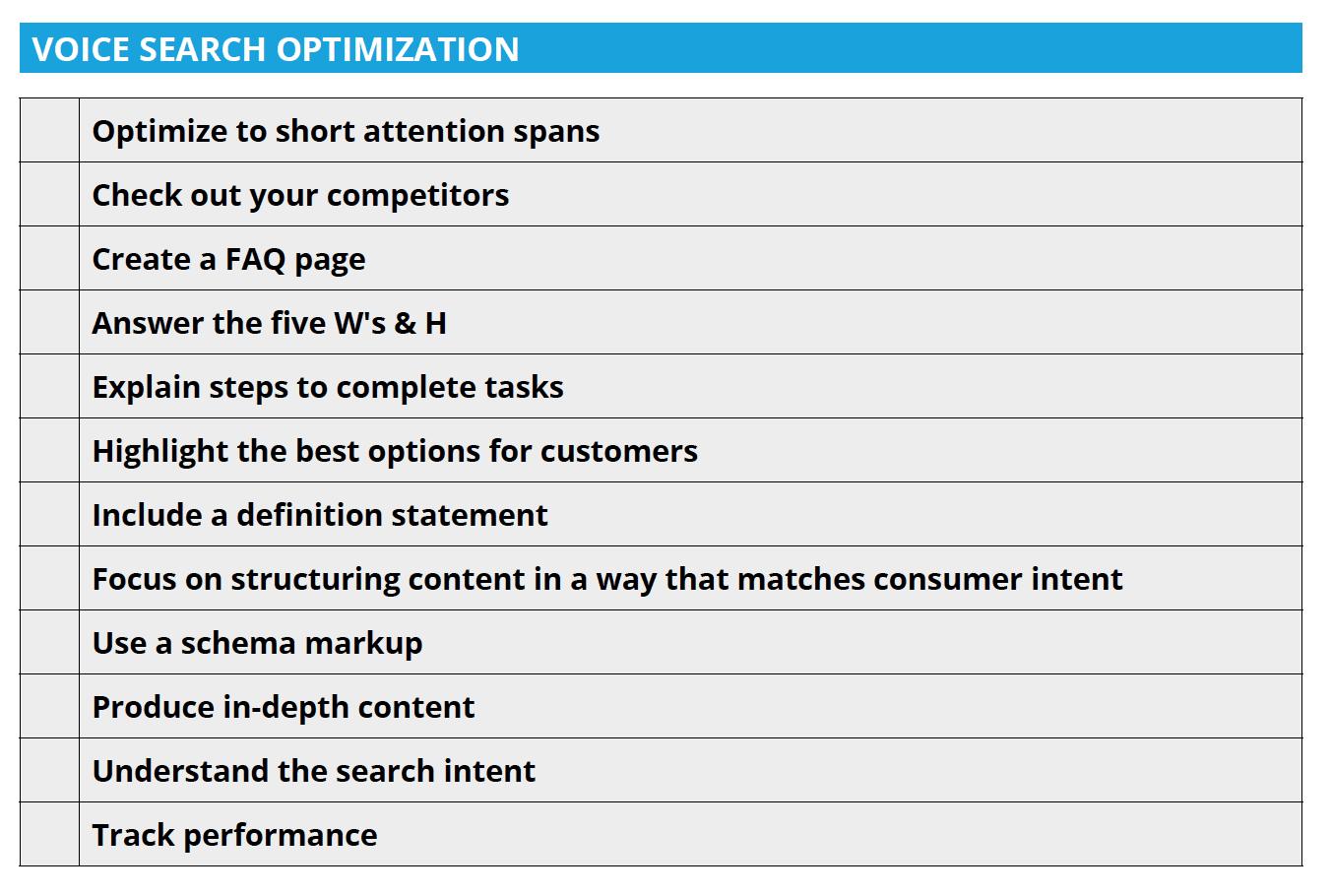 Voice Search Checklist