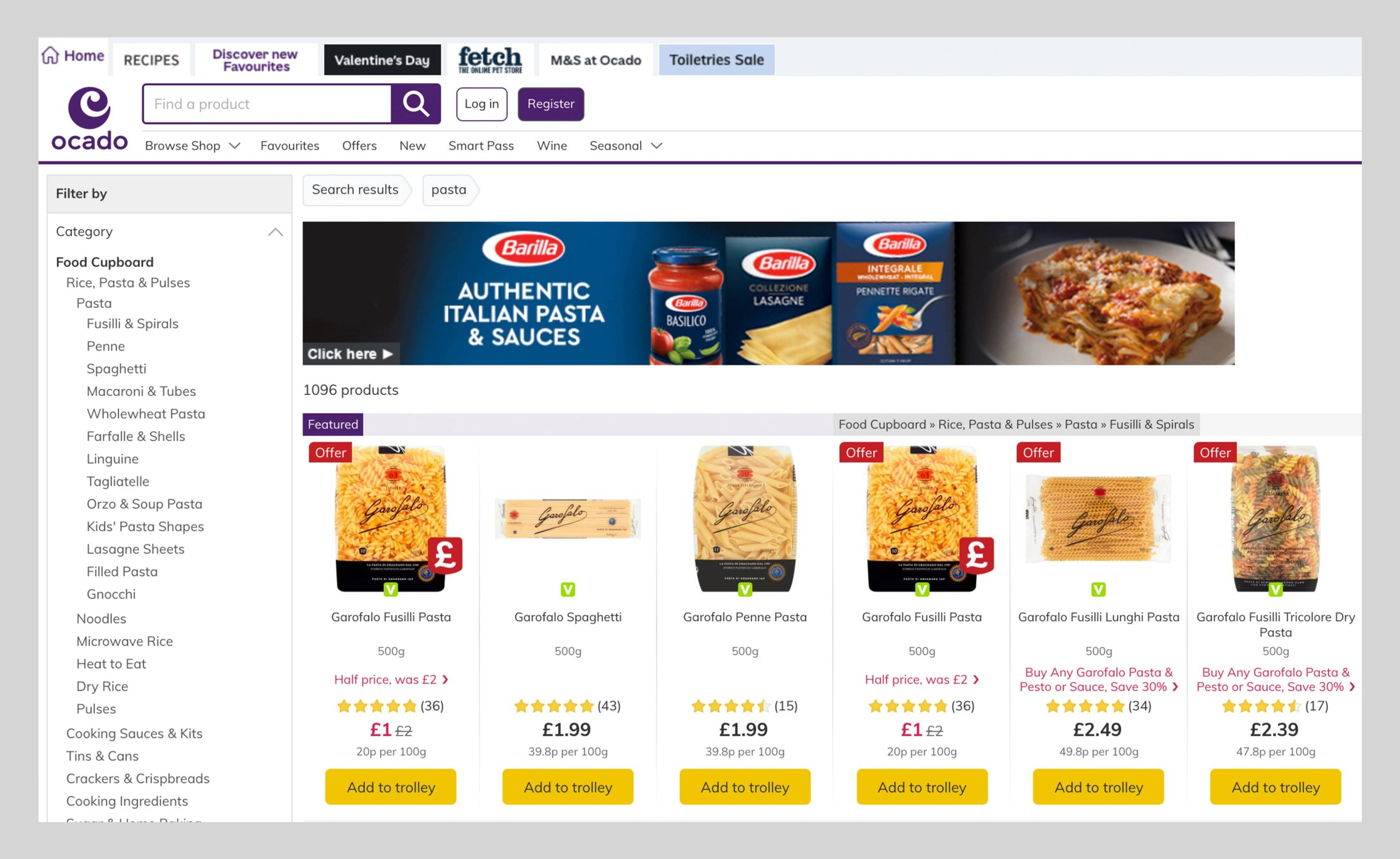 A connected eCommerce experience Barilla Example