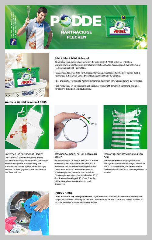 Laundry care product images - A good example of below - the - fold content from Ariel